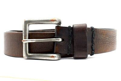 Vintage Fatto A Mano Uomo Vera Pelle Marrone Cintura Misura 32-mostra Il Titolo Originale