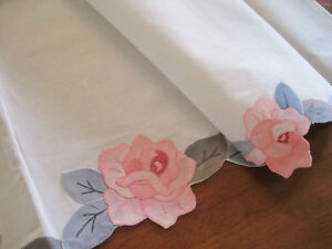 One-Vintage-Style-Hand-Applique-Rose-Embroidery-Cotton-White-Curtain-Clearance