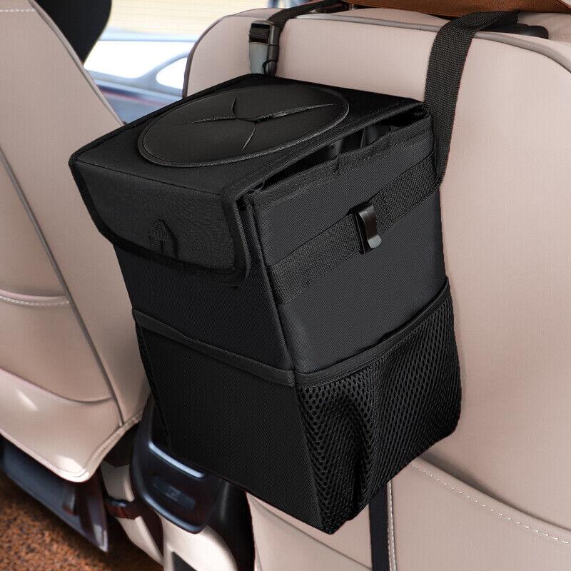 MSUTLLPN Multifunctional Car Trash Can Folding Storage Box Car Cup Holder Car Organizer Hanging White