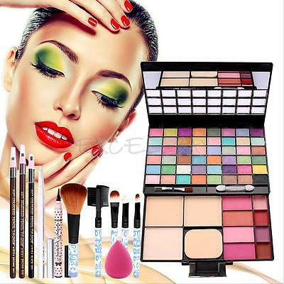 Makeup Gift Set Brushes Puff Eyeshadow Blusher Lip Gloss Foundation Powder Kit