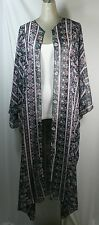 Plus size kimono long cardigan,black chiffon,floral & striped print ,size 2X-4X