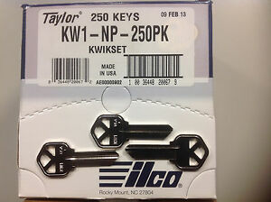 Key-Blanks-for-Locksmith-NP-Nickel-250-Kwikset-KW1-Made-by-Ilco