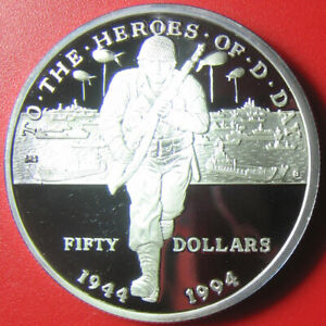 1994-MARSHALL-ISLANDS-50-PROOF-1oz-SILVER-D-DAY-NORMANDY-INVASION-BATTLE-SHIP