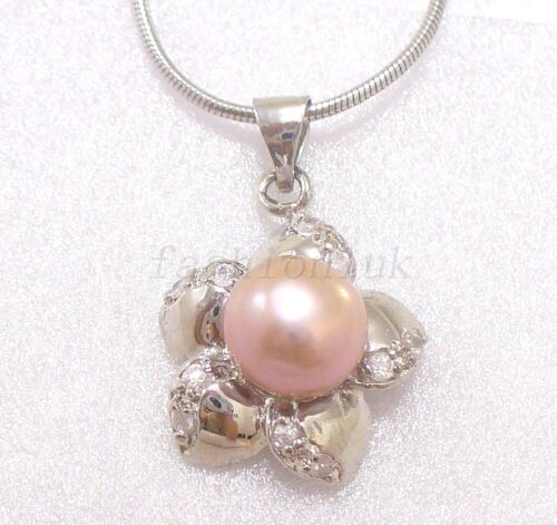 White Black Pink Lilac FW Pearl Crystal Star Flower Pendant Necklace Chain Xmas