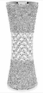 Stylish Silver Flower Vase Sparkle Bling Textured Home Decoration Ornament 25cm