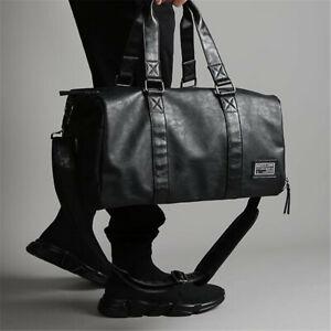 Men-039-s-Black-Leather-Large-Capacity-Duffle-Travel-Gym-Weekend-Overnight-Bag