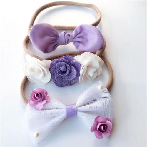 Hair Bands Flowers Bowknot Headbands Girls Children Accessories 3 Styles LH