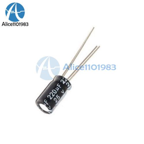 50PCS 220uF 25V 105C 6mm*12mm Radial Electrolytic Capacitors