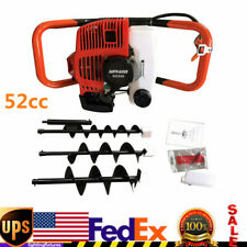 52cc Gas Powered Post Hole Digger Drill Earth Auger Power With 4 6 8 Bits Usa