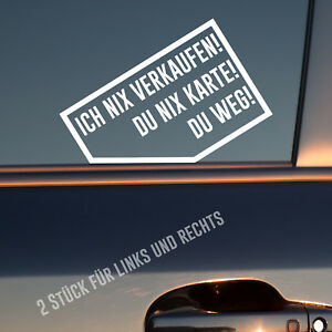 2-x-Auto-Aufkleber-ICH-NIX-VERKAUFEN-NIX-KARTE-Rechts-Links-Sticker-Fun