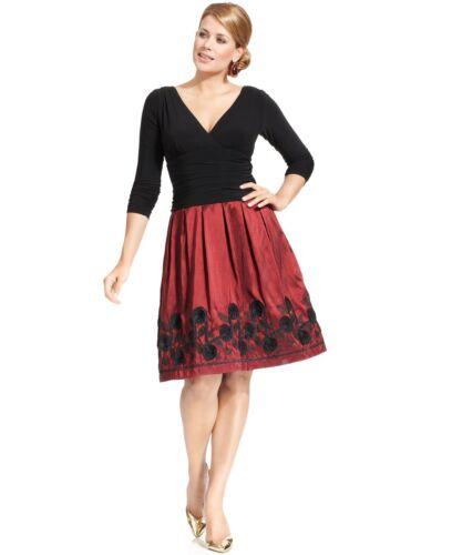 SL Fashions Red//Black Embroidered Taffeta//Jersey Soutache A-Line Dress $134