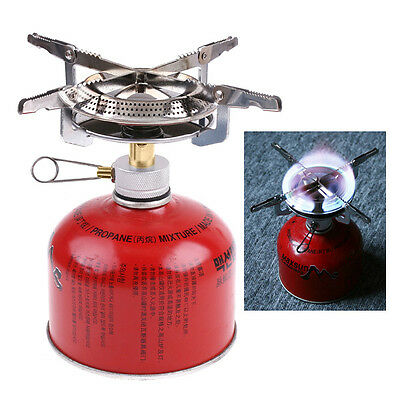 Portable Outdoor Picnic Gas Burner Camping Mini Stainless Steel Stove Case New