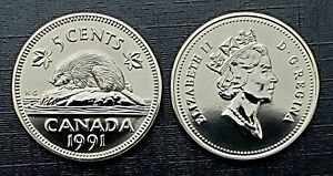 Canada-1991-Proof-Like-Gem-Five-Cent-Nickel