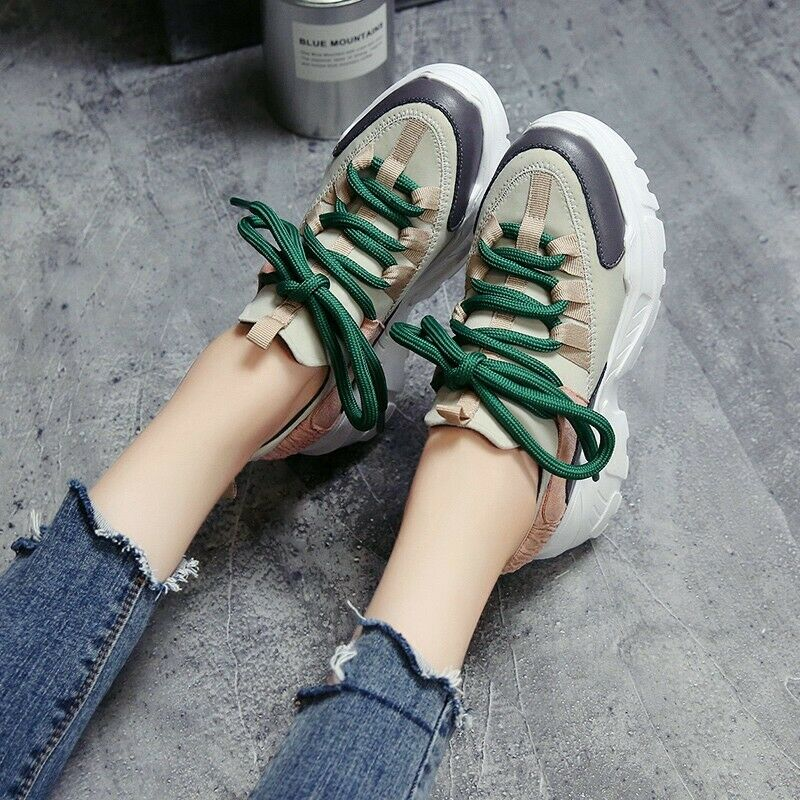 Creepers Hidden Wedge Platform Fashion Womens Round Toe Lace Up Casual shoes