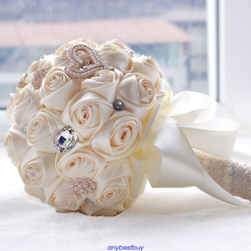 Rose Flowers Bridal Wedding Bouquet Bridesmaid Brooch Crystal Pearls Flower