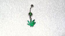 Green Enamel Pot Leaf Charm Belly Navel Ring Body Jewelry Piercing 14g