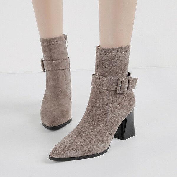 Bottes carré 8 cm gris bottines élégant comme cuir 1588