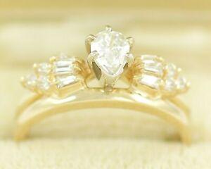 14K-75-CT-TW-Natural-Pear-Diamond-Solitaire-Ring-RBC-Baguette-Wedding-Wrap-7-75