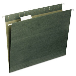 Smead-Recycled-Hanging-File-Folders-1-5-Tab-11-Point-Stock-Letter-Green-25-box