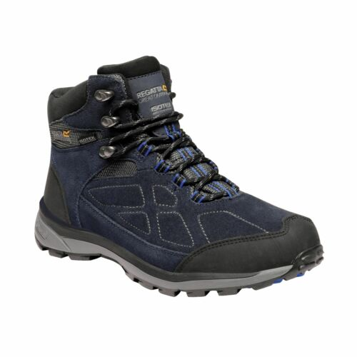 Mens Regatta Samaris Suede Mid Waterproof Hiking Walking Boots Navy Surfspray