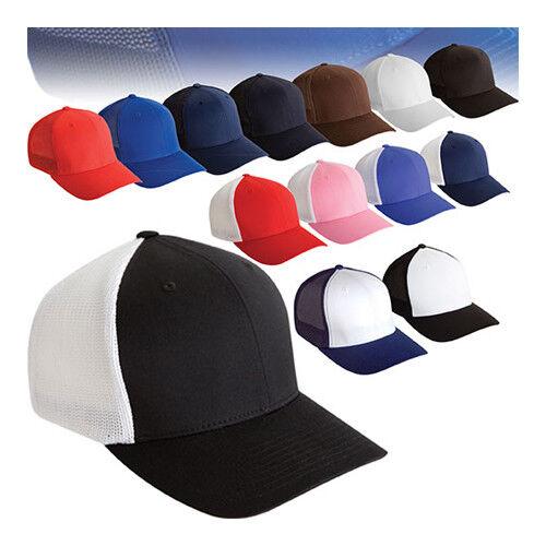 ss  Flexfit® 6511 Trucker Mesh Baseball Hat//cap Curved Bill Blank 6 panel