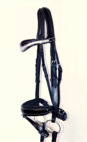 Rubber Reins Details about  /Anatomic Bridle GLOW Curve Crystal BLING Comfort Cut Away PATENT