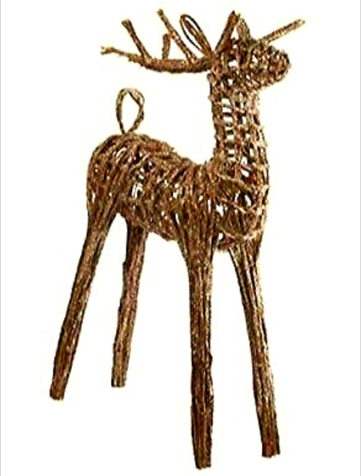 Gisela Graham Large Twig Standing Christmas Reindeer With Snowy Glitter 75cm