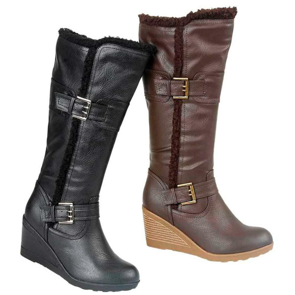 Ladies Wedge Boots Womens Winter Mid Calf Biker Fashion Buckle Heels Shoes Size
