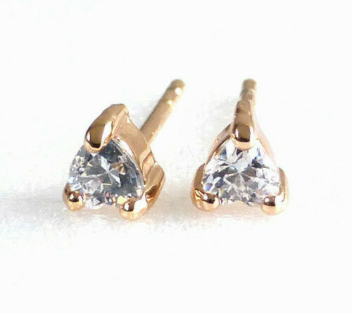 18K Yellow Gold Plated 3mm Tiny Small Simulated Diamond Heart Stud Earrings