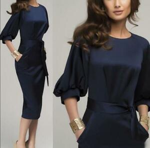 Elegant-Womens-Office-Formal-Business-Lady-Work-Party-Sheath-Tunic-Pencil-Dress
