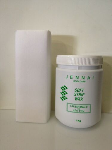 JENNAI Depilatory Soft Strip Wax Aloe vera & Chamolile 1kg Free Strips 100 Pcs