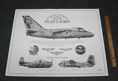 Decal Set of 3 VS-32 MAULERS US NAVY LOCKHEED S-3 VIKING Squadron Patch Image
