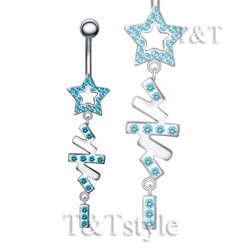 BL45 TT Crystal Star Dangle Belly Bar Ring Body Piecing