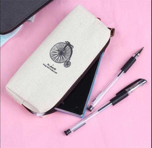 Zarte Canvas Pencil Pen Case Kosmetik Make-up Münzfach Zipper Bag ZP