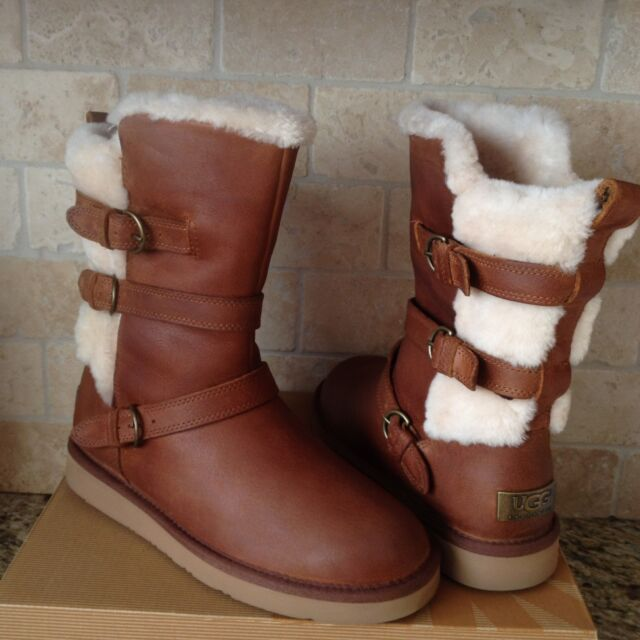 3cea99db3ab Ugg Becket Chestnut Water-resistant Leather Fur Buckle Boots Size US 9  Womens