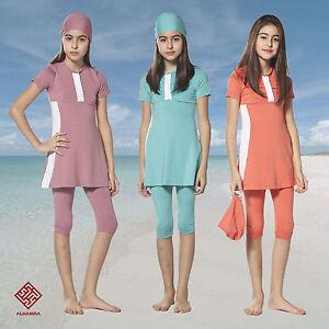 AlHamra-Girl-Burkini-Capri-Modest-Swimwear-Burqini-Kids-Swimsuit-Muslim-Age-5-11