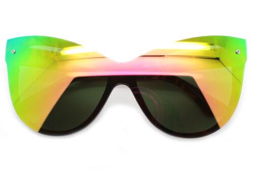 Cat Eye Oversized Designer Sunglasses Mirrored Lens Plastic Frame Women Fashion
