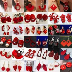 Fashion-Red-Earrings-Flower-Crystal-Bead-Wedding-Bridal-Party-Drop-Dangle-Gifts