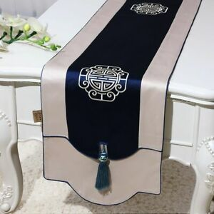 Silk Brocade Table Runner Rectangle Dining Coffee Tablecloth Mat Home Decoration