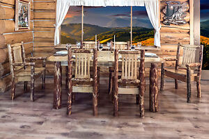 Rustic Log Kitchen Table Chairs Set Amish Made Lodge Dining Room ...