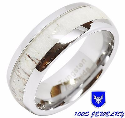 8mm Mens & Womens Deer Antler Inlaid Tungsten Wedding Ring Dome Band Comfort Fit