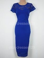 BNWT Definitions Cobalt Lace Bodycon Wiggle Pencil Dress Size 12 Stretch RRP £44