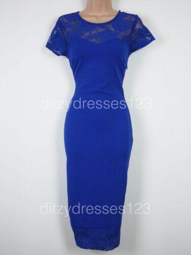 Bodycon Dress Size 8 Blue Cobalt Lace Stretch BNWT Definitions