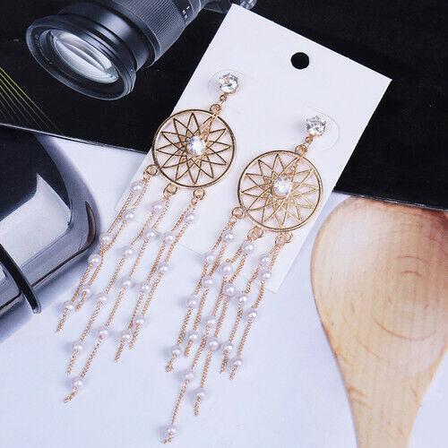 VINTAGE Dream Catcher Feather Long Tassel Dangle Crochet bohème boho Earrings
