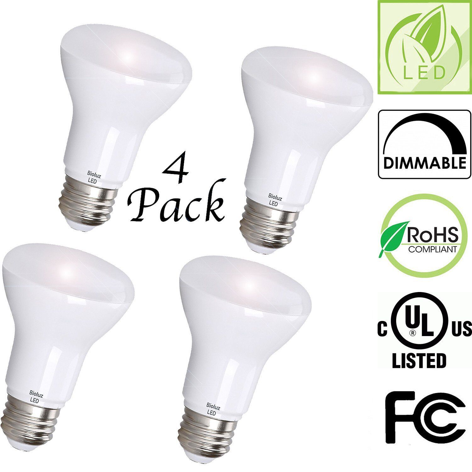 Bioluz LED BR20 LED Bulbs, 50 Watt Equivalent, Indoor   Outdoor Dimmable LED Lam