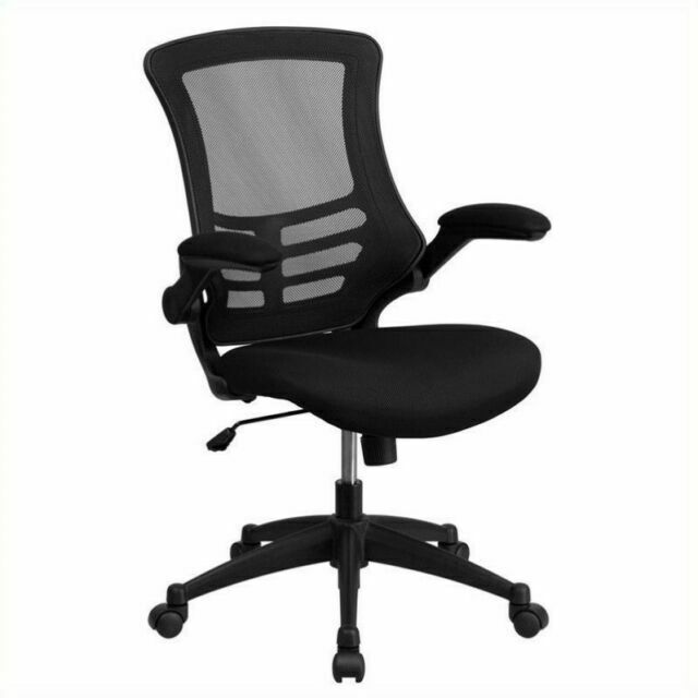 Flash Furniture Mid-Back Black Mesh Swivel Desk Chair with F