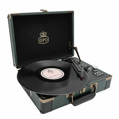 GPO Ambassador Record Player / Turntable Green  w / BLUETOOTH & BUILT IN BATTERY