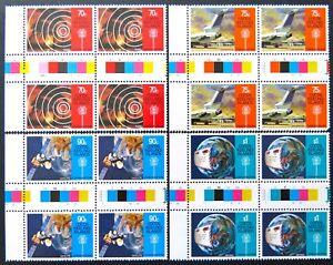 1987-Cocos-Keeling-Island-Stamps-Communications-Links-Gutter-4-Set-4-Tab-MNH