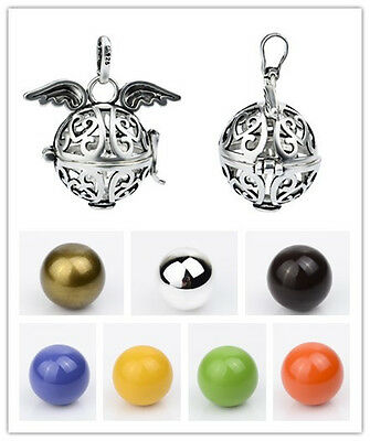 20MM Silver Angel Wing Harmony Ball Pendant Chime Sound Angel Caller Mexica Bola