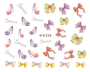 Nail-Art-3D-Decals-Transfers-Stickers-Jo-Bows-Heels-E224